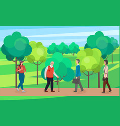 Warm season park zone with people large public vector