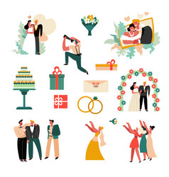 wedding day or marriage ceremony bride and groom vector image
