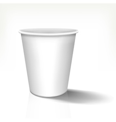 White realistic paper cup in front view vector