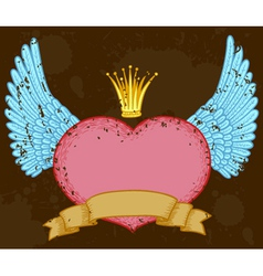 winged heart banner with crown vector image