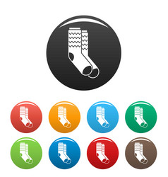winter socks icons set color vector image