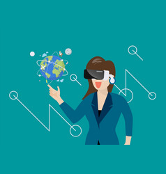 woman in virtual reality vector image
