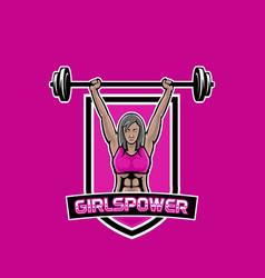 woman weight lifter mascot logo girls power gym vector image