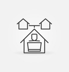 work from home outline concept icon vector image