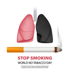 world stop smoking concept background realistic vector image