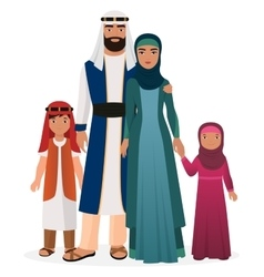 Arabian family Arabian man and woman with boy and vector image vector image