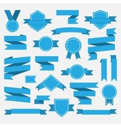 Blue ribbonsmedalawardset vector image vector image