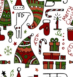Classic colored hand drawn Christmass elements vector image vector image