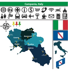 Map of Campania vector image vector image