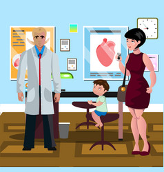 mom and son in doctor s office vector image