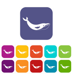 whale icons set flat vector image