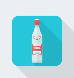 flat style vodka bottle icon with shadow vector image