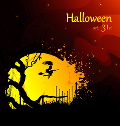 moon and witch halloween vector image