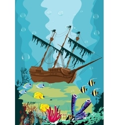 underwater landscape with old pirate ship vector image