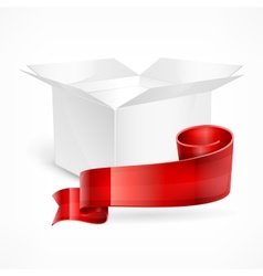 White box red ribbon vector image vector image