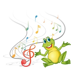 A frog with musical notes vector image