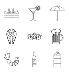 big glass of ale icons set outline style vector image