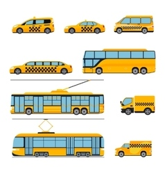 City public transport icons flat set Urban vector image