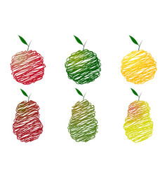 drawing of apples and pears vector image vector image
