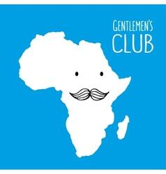 Fun moustache club cartoon Africa hand drawn map vector image