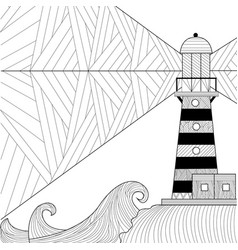 seascape coloring book for adult anti stress vector image
