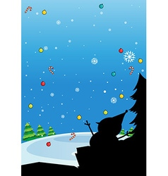Silhouette of christmas with snowman vector