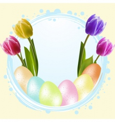 speckled Easter eggs and tulips vector image vector image