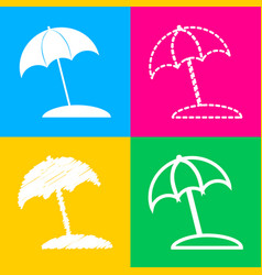 umbrella and sun lounger sign four styles of icon vector image
