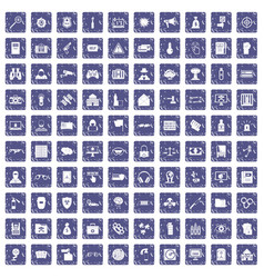 100 hacking icons set grunge sapphire vector image vector image