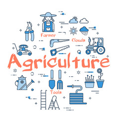 blue round agriculture concept vector image vector image