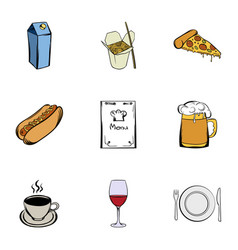 cafe icons set cartoon style vector image