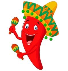 Chili cartoon playing maracas vector image vector image