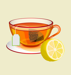 cup on saucer with tea bag water and fresh lemon vector image vector image