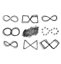 hand drawn infinity icons set vector image vector image