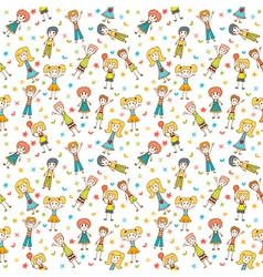 Hand drawn seamless pattern with happy children vector image vector image