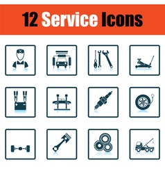 Set of twelve Service station icons vector image