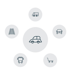 transport icons set collection of cargo cart vector image