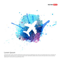 Airplane icon - watercolor background vector