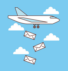 Airplane mail envelope falling sky image vector