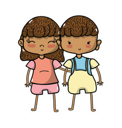 Beauty girl and boy together with hairstyle vector