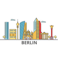 berlin city skyline buildings streets vector image