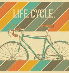 bicycle vintage poster retro colors vintage vector image