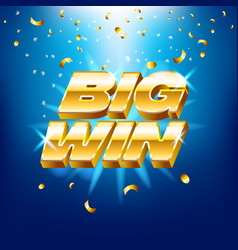 Big win banner with gold text for casino machines vector
