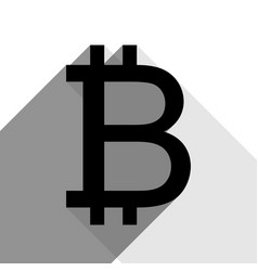 Bitcoin sign black icon with two flat vector
