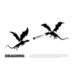 Black silhouette of dragons on white background vector