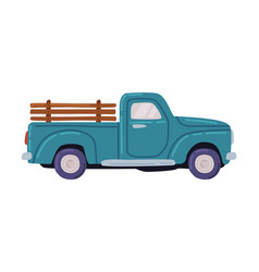 blue pickup agricultural transport cartoon style vector image