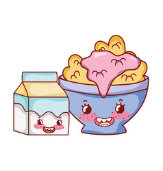 Breakfast cute bowl with cereal yogurt and milk vector