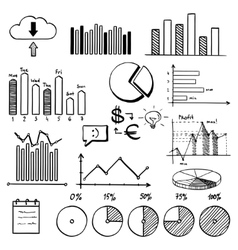 business finance doodle hand drawn elements with vector image vector image