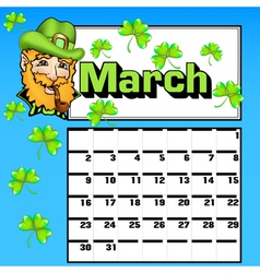 Calendar for March St Patricks Day vector