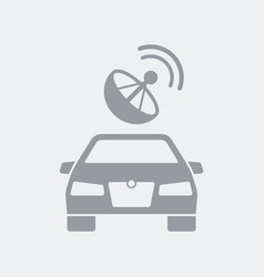 Car connected via satellite antenna vector